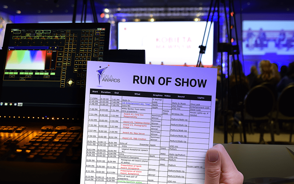 Creating a Run of Show – Important Components